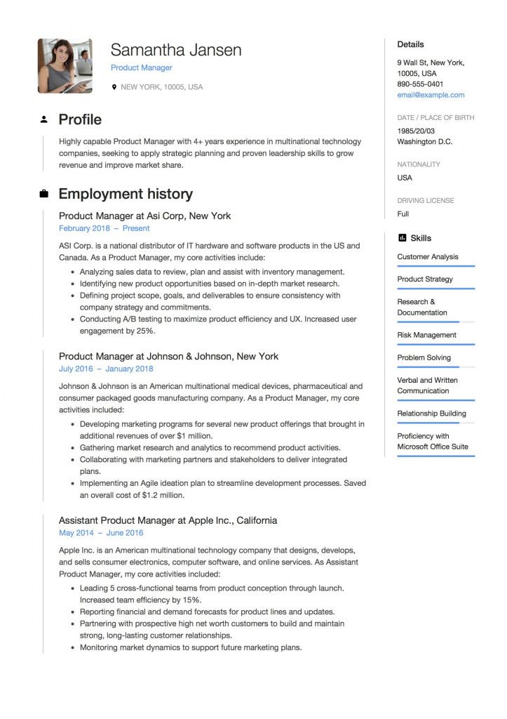 Sample Resume For Product Manager 2021 Manager Resume Resume Guide Teacher Resume Examples