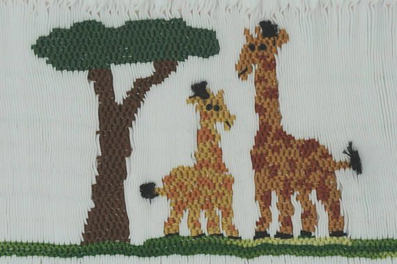Mama and Baby Giraffe Downloadable Picture Smocking Plate