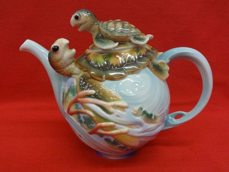 Franz Porcelain Sea Turtle Tea Pot - 3 D EUC
