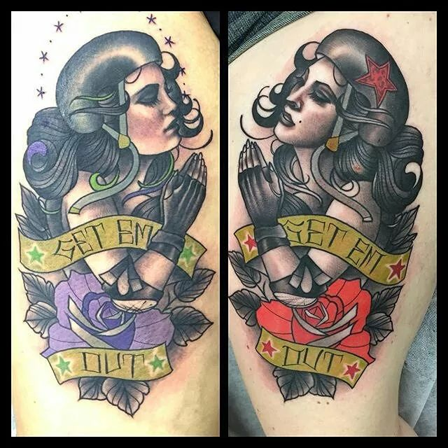 Roller derby pin up tattoo