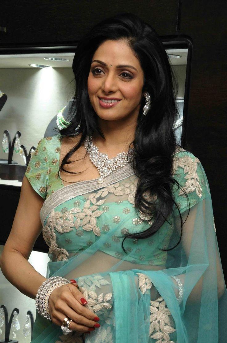 Sridevi in aqua color #saree #sari #blouse #indian #outfit  #shaadi #bridal #fashion #style #desi #designer #wedding #gorgeous #beautiful