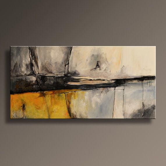 ORIGINAL ABSTRACT Yellow Gray Painting on by itarts