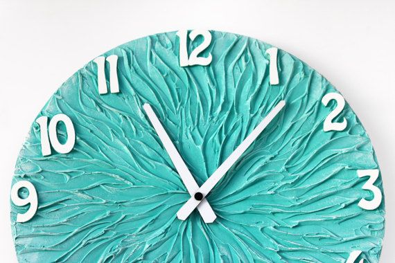 #Turquoise #home #decor #clock Turquoise WALL CLOCK Large Clock turquoise wall decor by PilipArt