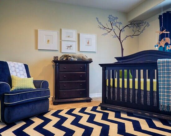 Dark navy blue and cream for baby boy room/nursery.