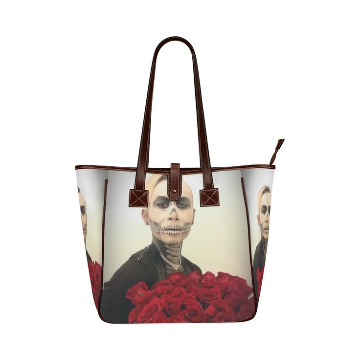 Skull Tux And Roses Custom Tote Bag 13(Two Sides)