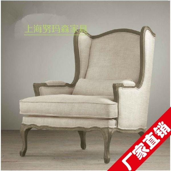 Тигр стул Кресло американской страны, чтобы сделать старый ретро ткани высокой спинкой стула отеля льняную кресло гостиной диван - Taobao