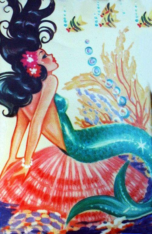 Meyercord mermaid decal 1950's