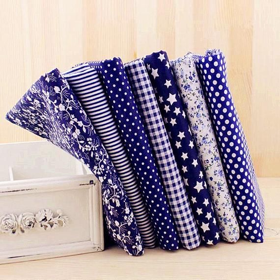 100/% Cotton Fabric Craft 5 Piece Purple White Geometric Fat Quarter Bundle
