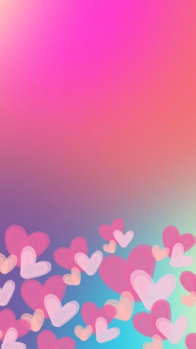 Cute Hearts Colors Pink Papeis De Parede Para Iphone Papel De Parede Para Telefone Planos De Fundo