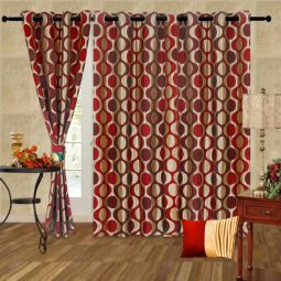 Cortina Contemporary Eyelet Curtain Maroon & Beige #DIwaliDecor #FabFurnish