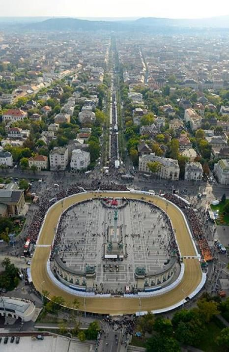 Aerial view of Nemzeti Vágta, Heroes Square, Budapest