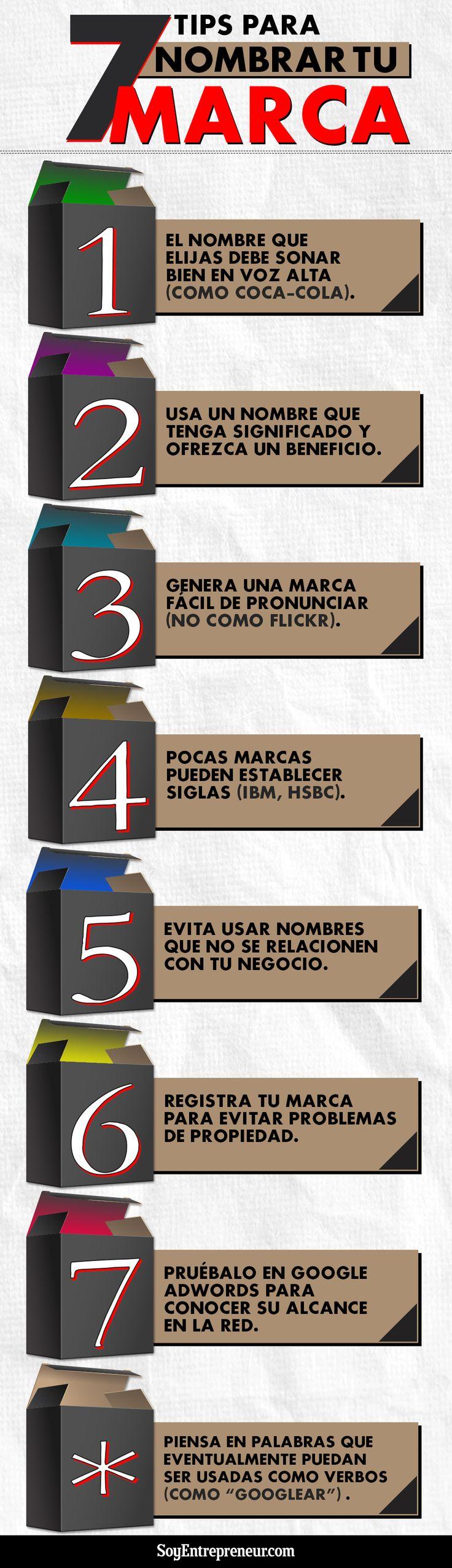 7 consejos para nombrar tu Marca #infografia #infographic #marketing | TICs y Formación