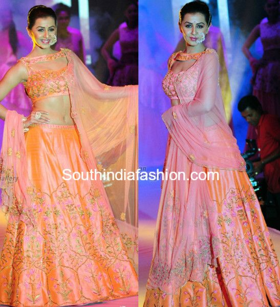 Nikki Galrani in a Peach Lehenga photo