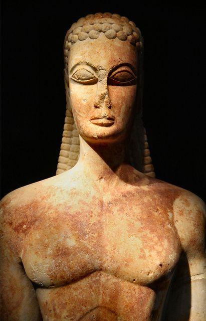 Kouros (archaic greek period) at the kerameikos museum of Athens, Greece, April 2011