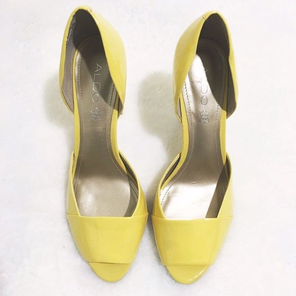 PARTY SALE TODAY ONLYYellow Aldo Heels ✨ NWOT! Shine bright like a diamond in these bright yellow heels. They've been tried on but never worn out! Enjoy these beauties for the super low! PARTY SALE TODAY ONLY Odor Free  Pet Free  Daily Discounts  PayPal/Trades  Boutique Item   Instagram: @luxeious ALDO Shoes Heels