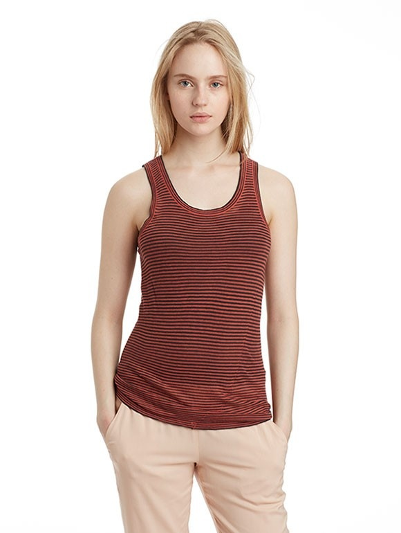 INHABIT Womens Twisted Striped Tank - Persimmon