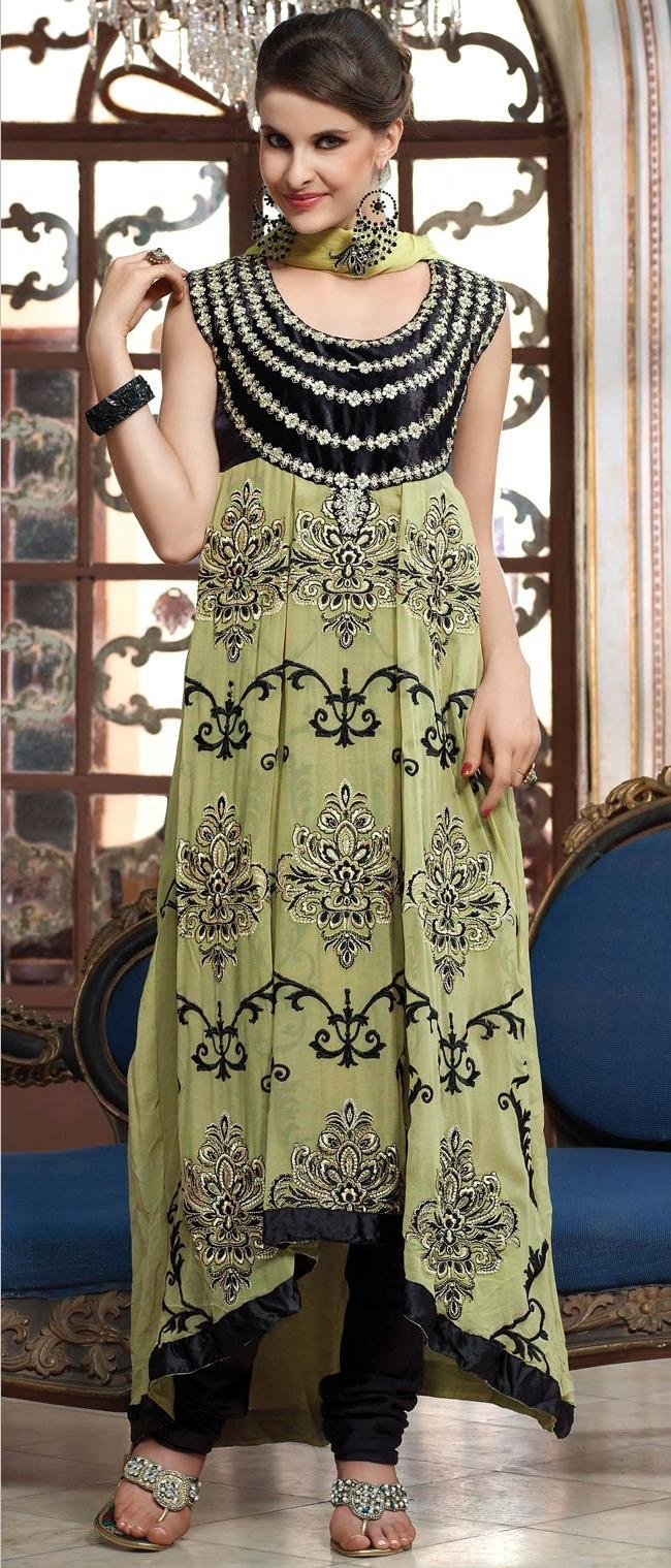Light #Green Faux Georgette Churidar #Kameez @ $103.65 | Shop Now @ http://www.utsavfashion.com/store/sarees-large.aspx?icode=khs168