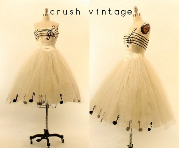 50s Tulle Dress XXS / 1950s Sequin Music Dress /  by CrushVintage Outstanding! Women's vintage rockabilly pinup novelty party dress teen prom