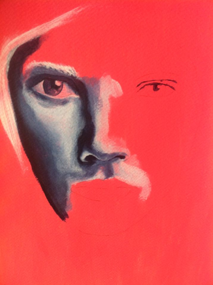 Portrait study - Acrylics on paper
