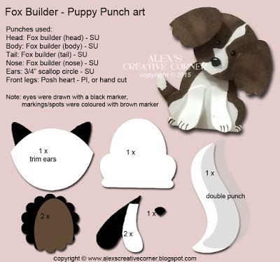 Alexandra Bleicher: Alex's Creative Corner: Welcome Puppy Punch Art card - 8/8/16.  (Pin#1: Punch Art: Critters).