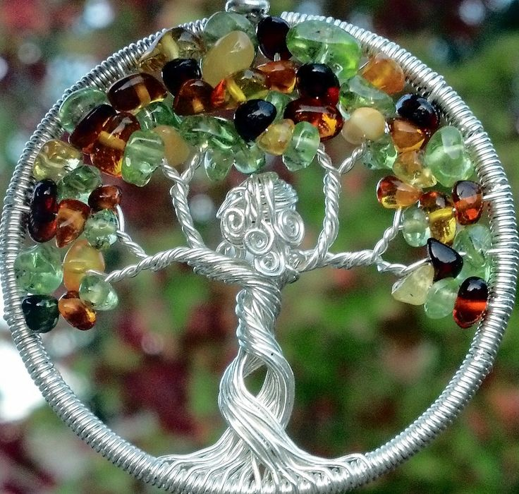 Mother Nature Welcomes Autumn Tree of Life Pendant - Recycled Sterling Silver, Amber and Peridot Tree Goddess.