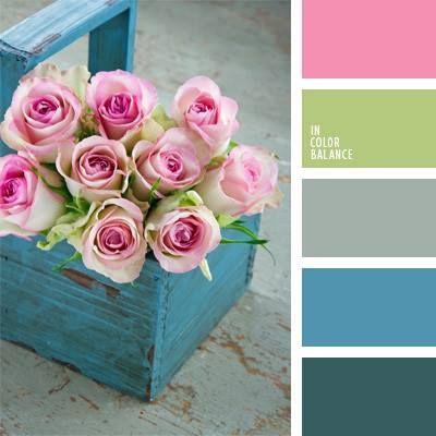 blue box & pink Roses; color palette