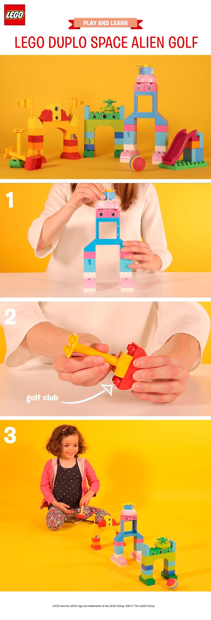This is a great indoor activity for young children, combining gross and fine motor skills. Help your child build funny looking aliens out of LEGO DUPLO bricks – these will make the arches that the ball will roll through. Make a little golf club from the bricks – or use a paper towel tube. Then, use a ping pong ball (or any large ball that's safe for pre-schoolers to play with) and see if your child can get it through all the arches. Extra points for getting them in first time!