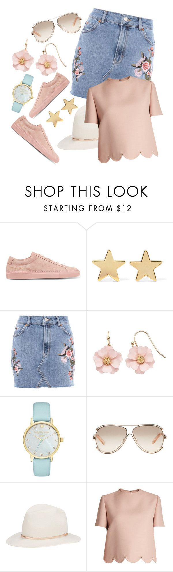 """fully accesorized"" by amalia-paraschiv ❤ liked on Polyvore featuring Common Projects, Jennifer Meyer Jewelry, Topshop, LC Lauren Conrad, Kate Spade, Chloé, Janessa Leone and Valentino"