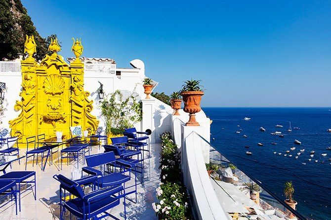 Franco's Bar at Le Sirenuse, an iconic hotel in Positano, Italy