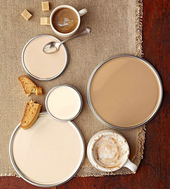 "Just like your favorite latte or coffee drink, these paint colors are comforting, yet energizing. Sometimes getting the right hue, like getting the right coffee drink, is a custom job. ""I mix colors to get a perfect cream,"" Los Angeles Designer Mary McGee says. Her favorite ""recipe"": A 50:50 mix of Benjamin Moore's Marble White (OC-34) with Grant Beige (HC-83). ""It cuts the gold, and you end up with this incredible color."""