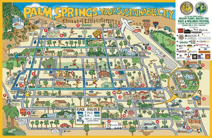 How to travel from los angeles to palm springs Downtown Palm Springs Map on