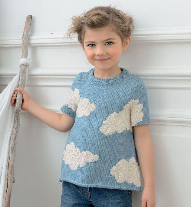Modèle pull jacquard nuage fille - Modèles Enfant - Phildar