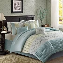 Madison Park Serene King Embroidered 7 Piece Comforter Set in Aqua - Olliix MP10-4191