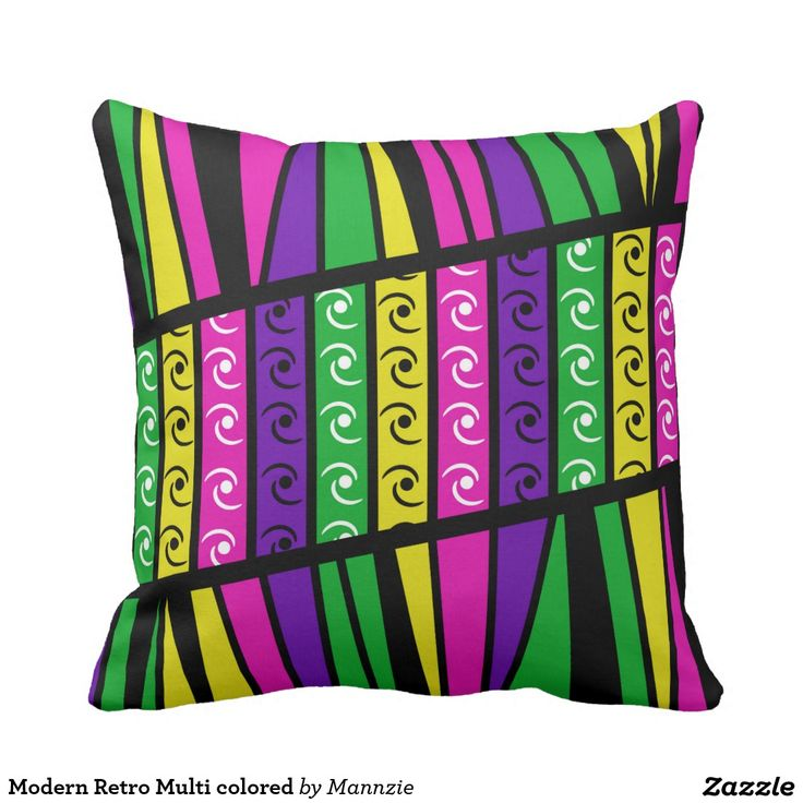 Modern Retro Multi colored Pillow