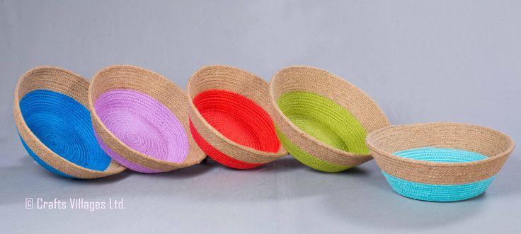 CV-01-028 Jute Rope Bowl Dia: 26 cm, Height: 09 cm, Bottom: 16 cm Color: i) Sea Blue, ii) Spring Green,  iii) Mist, iv) Red, v) Lavender