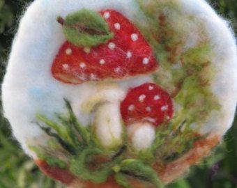 Naald vilten wandtapijten, Mushroom waldorf geïnspireerd