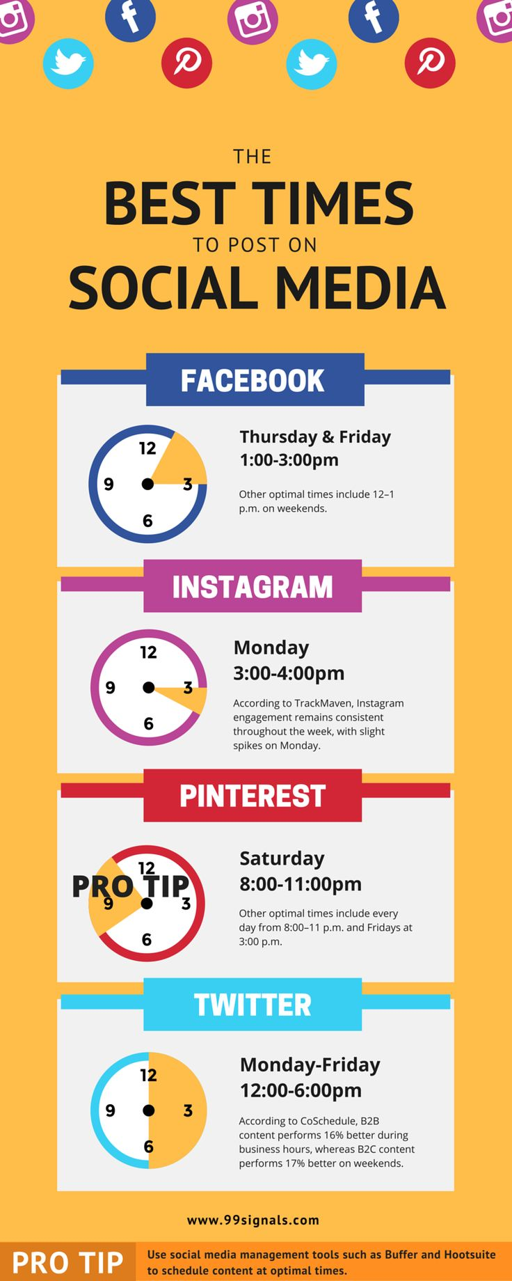 The Best Times to Post on Social Media [Infographic] #SMM #SocialMediaMarketing #ContentMarketing #Infographic