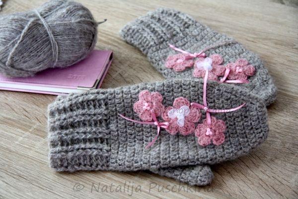 Handschuhe mit Blumen Häkelanleitung e-Book https://www.crazypatterns.net/de/items/27/Handschuhe-mit-Blumen-H%C3%A4kelanleitung-e-Book