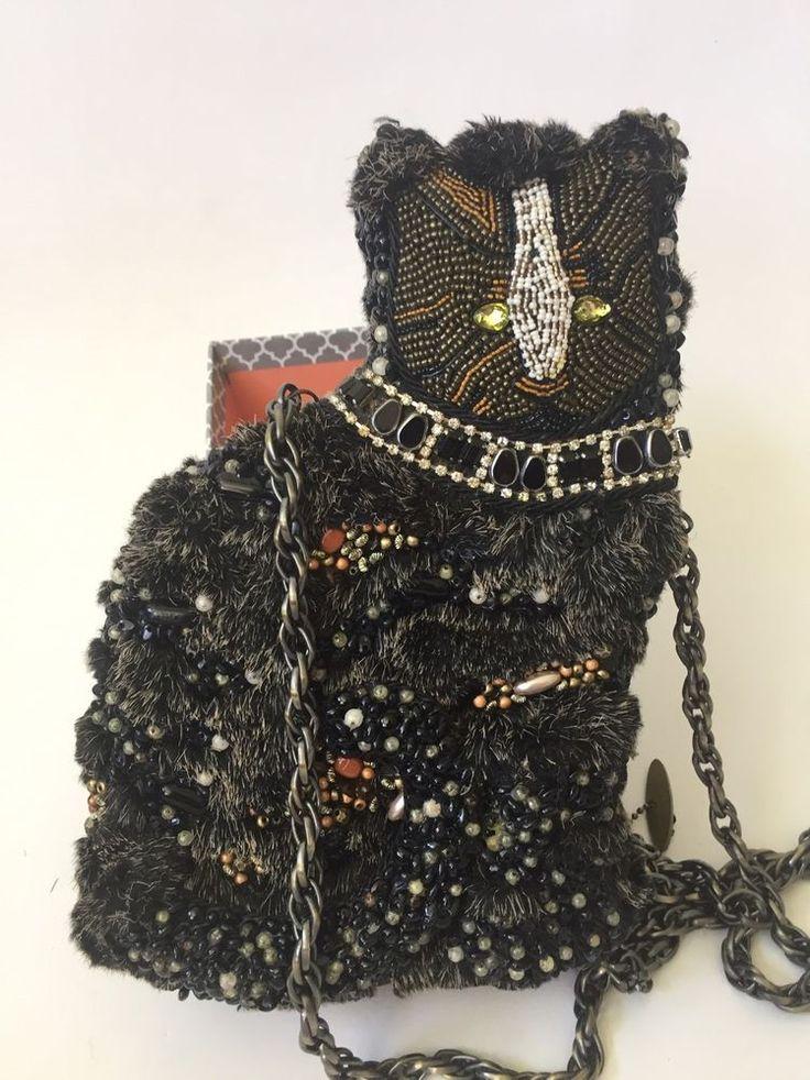 Mary Frances Cat Beaded Chain Purse Bag NWT #MaryFrances #ShoulderBag