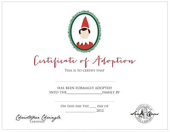 71 best elf on the shelf printables images on pinterest christmas crafts christmas decoration for Elf on the shelf adoption