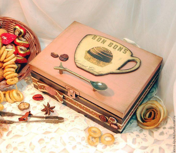 """Купить Чайный короб """"Шоколадная вечеринка"""" - кремовый, короб для хранения, короб для кухни, короб для чая"""