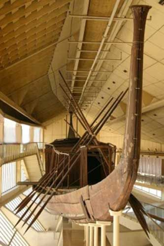 The Khufu ship is an intact full-size vessel from Ancient Egypt that was sealed into a pit in the Giza pyramid complex at the foot of the Great Pyramid of Giza around 2,500 BC.