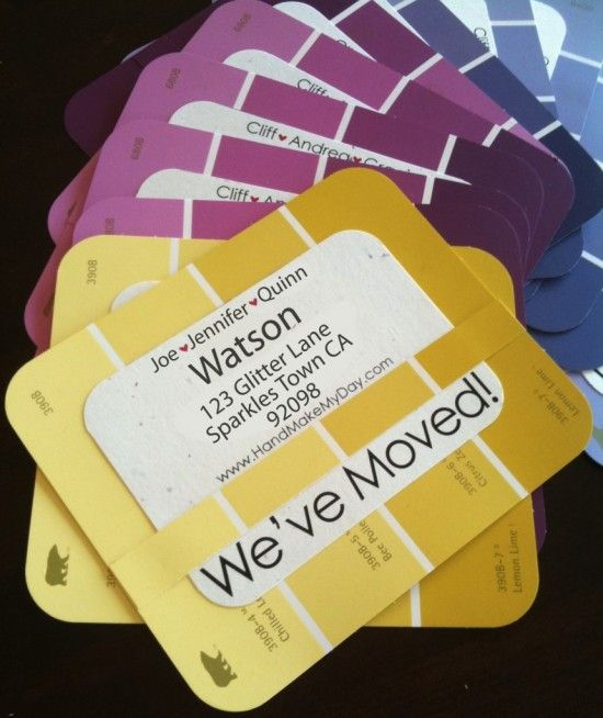 """Cute new address cards using paint cards to invite everyone over for a """"housewarming"""" party to your new pad once it's all decorated and spruced up! #pinterestingrenter #forrent.com"""