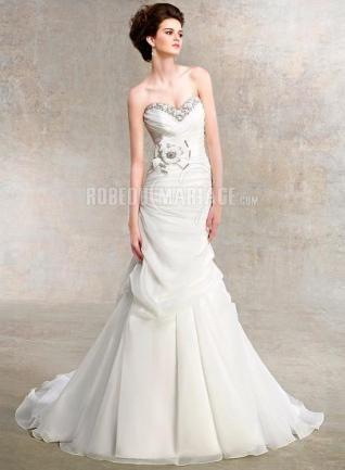 Col en cœur robe de mariée pas cher satin fleur sirène [#ROBE209444] - robedumariage.com