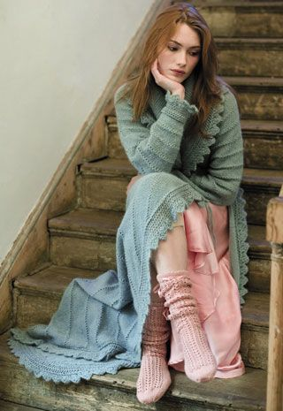 """Knitted dressing gown from a book called """"Beads, Buttons and Lace"""" by Jennie Atkinson"""