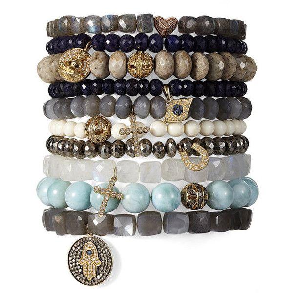 moonstone hamsa bracelet - boho chic - women - Gorsuch ($2,458) ❤ liked on Polyvore featuring jewelry, bracelets, boho bangles, boho chic jewelry, boho jewellery, bohemian bangles and bohemian jewellery