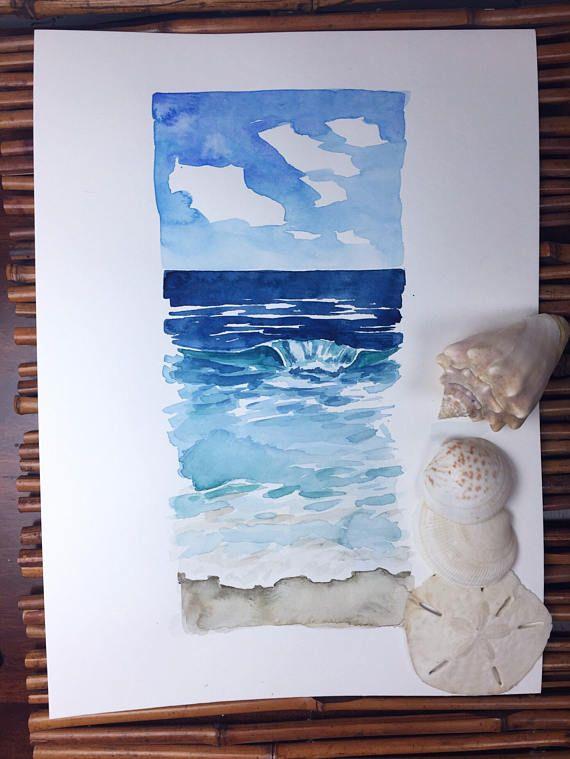 Beckoning II original watercolor painting ocean seascape