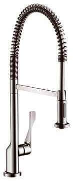Hansgrohe-39840801 Axor Citterio Semi-Pro Kitchen Faucet in Steel Optik - traditional - kitchen faucets - PlumbingDepot.com