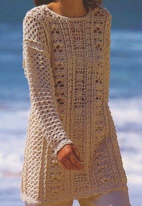 Ladies Long Tunic, Sweater, Crochet Pattern. PDF Instant Download ...