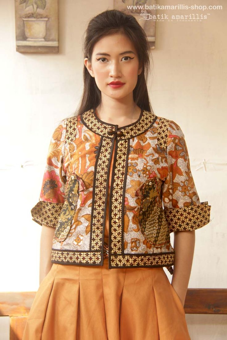Batik Amarillis's Birdy jacket - made in Indonesia ... The impeccably detailed cheerful design combines unique 'Birdy' applique pockets, a cropped silhouette with three-quarter sleeves, contrast-panel detailing and a beaded button,this is one of the kind!